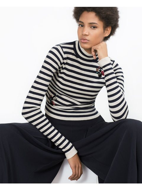 b7783c4a Cropped Stripe Sweater with Gems | Endource