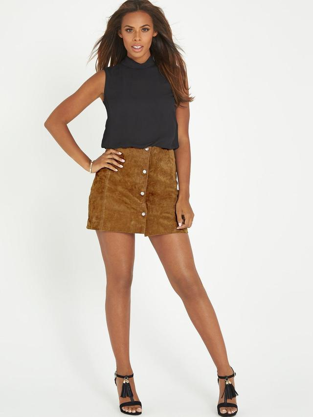 Suede Button-Through Mini Skirt | Endource