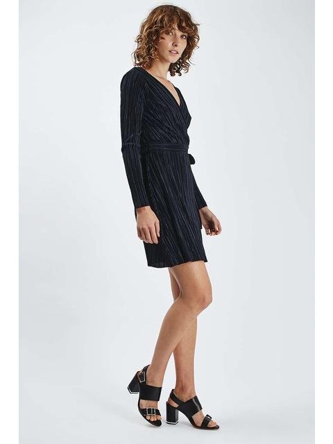 b486bcd78 Long Sleeved Pleat Wrap Dress   Endource