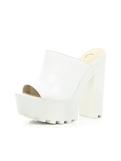 ad916c5bc1fa WHITE CLEATED SOLE PLATFORM MULES