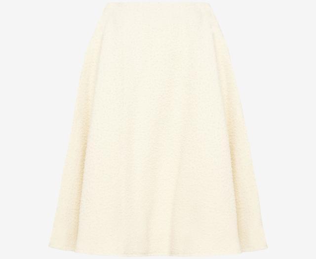 Fuzzy Wool Cream A-line Skirt | Endource