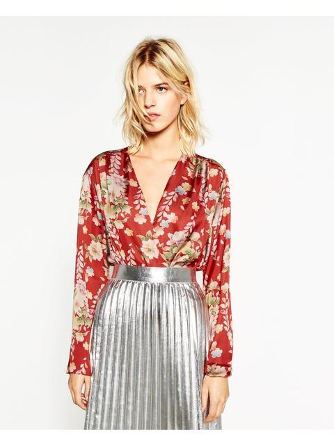 d86a000b Floral Print Bodysuit   Endource