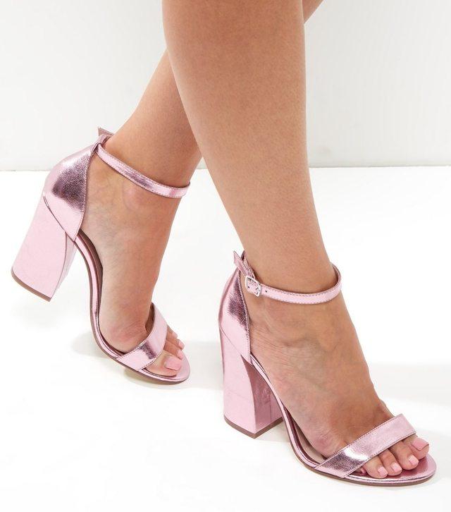Metallic Flared Block Heels | Endource