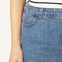 Midwash Frayed Hem Denim Skirt | Endource