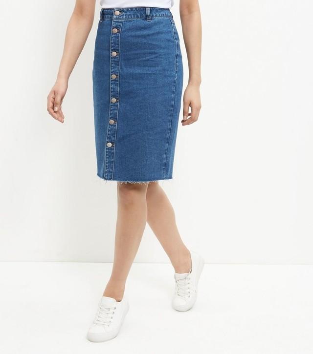 Fray Hem Denim Midi Skirt | Endource