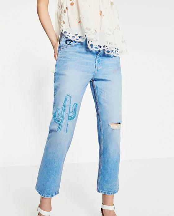 Embroidered boyfriend jeans endource