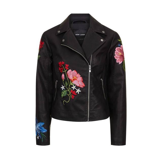 Floral embroidered biker jacket endource