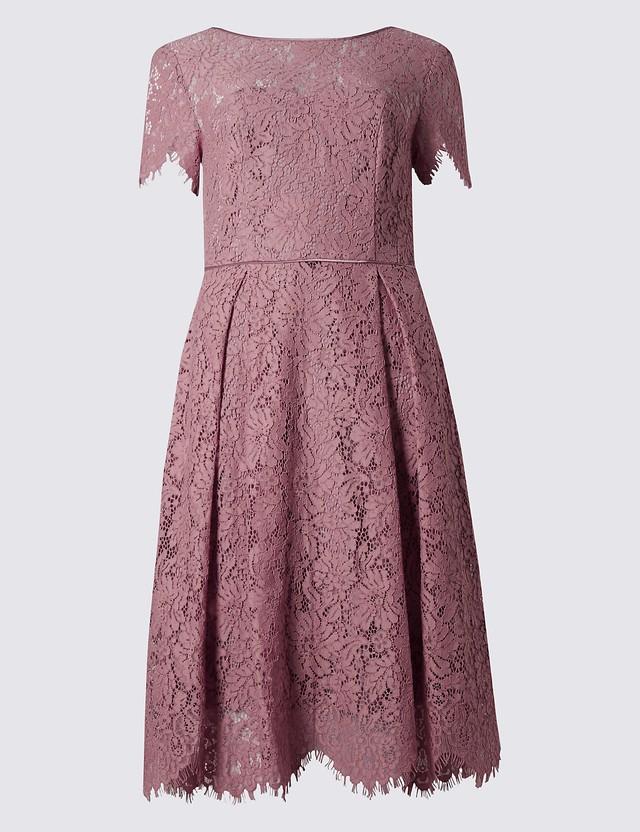 Short Sleeved Lace Skater Dress | Endource