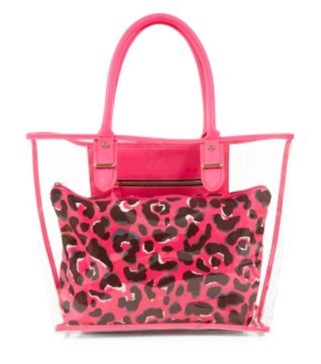 Pink Leopard Print Contrast Perspex Beach Bag | Endource