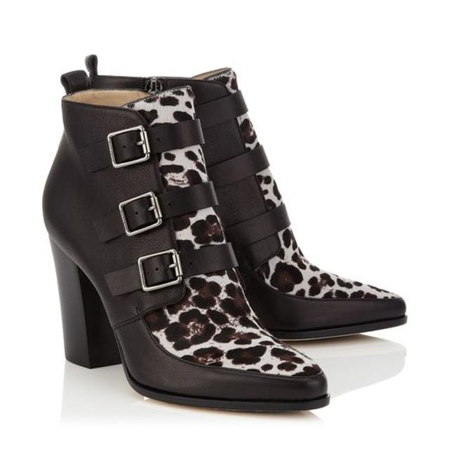 0b301d068a2bc HUTCH Black and Quartz Textured Leather and Leopard Print Pony Ankle Boots  | Endource