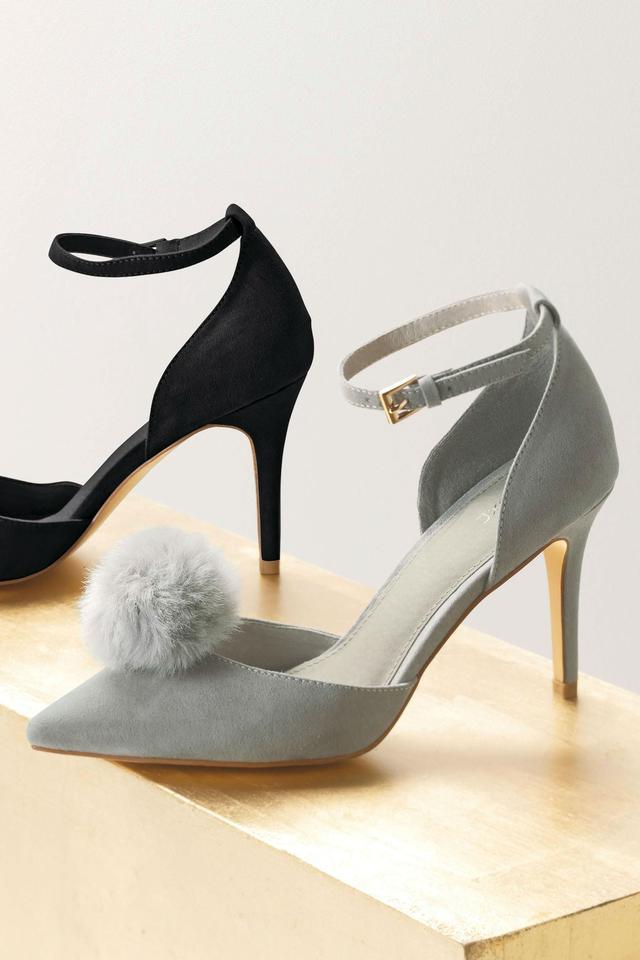 Grey Pom-Pom Heels | Endource
