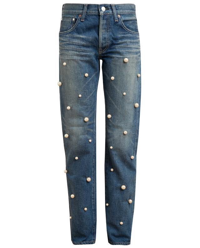 Pearl Embellished Boyfriend Jeans | Endource