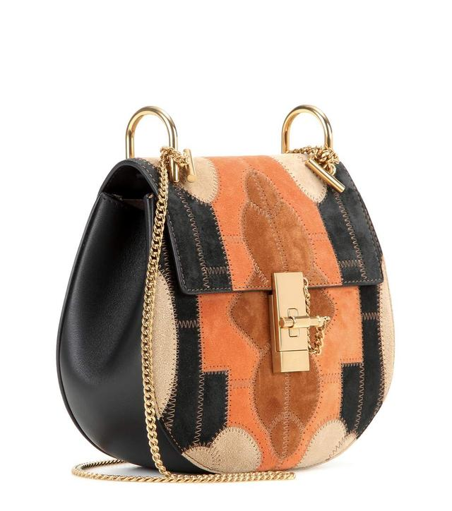 chloe small drew suede patchwork shoulder bag