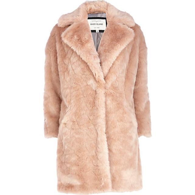 Light Pink Faux Fur Oversized Coat | Endource
