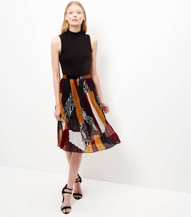 patchwork pleated midi skirt endource