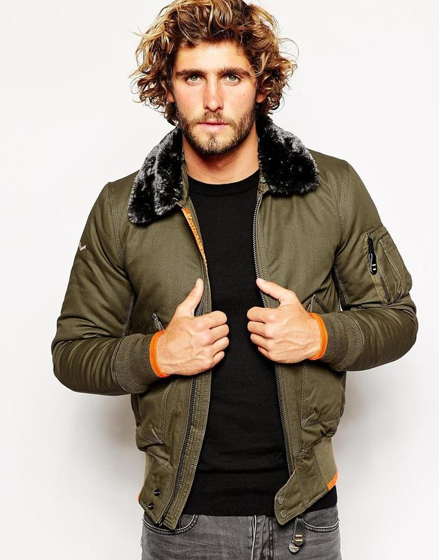 Superdry Aviator Bomber With Faux Fur Collar