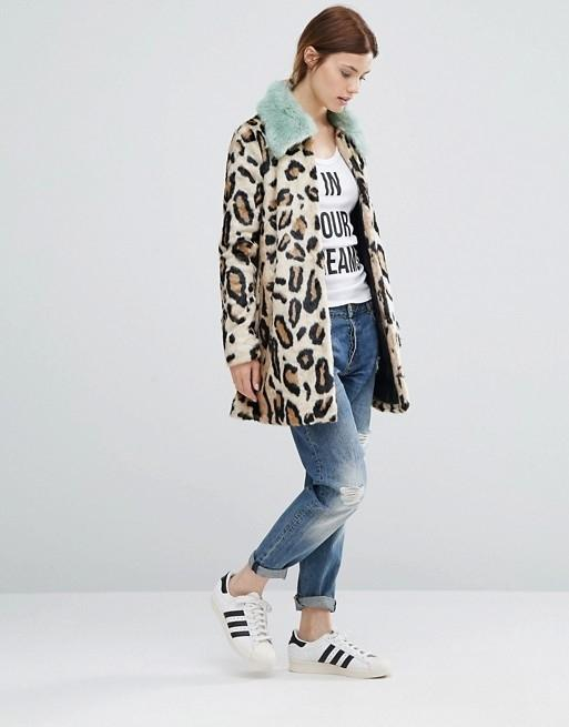8adbecdbcc6 Leopard Print Coat With Fur Collar
