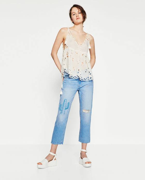 Embroidered Boyfriend Jeans  Endource
