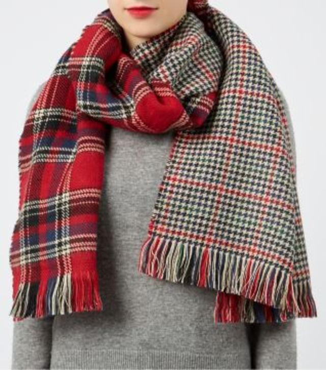 tartan check reversible oversized scarf endource