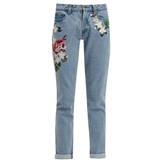 Dionne floral embroidered jeans endource