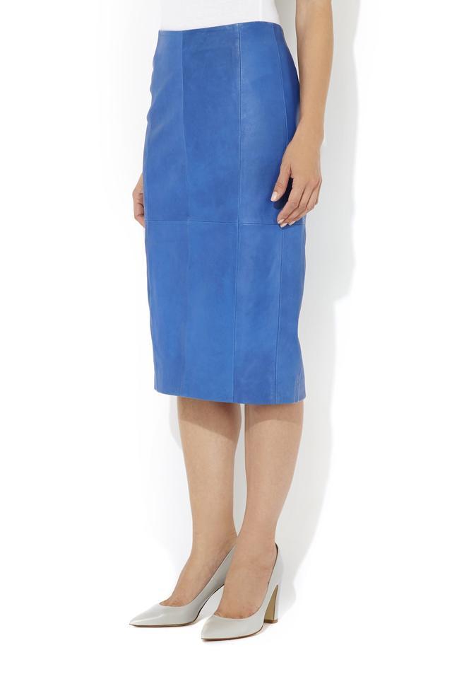 ff84556791 Blue Leather Pencil Skirt | Endource