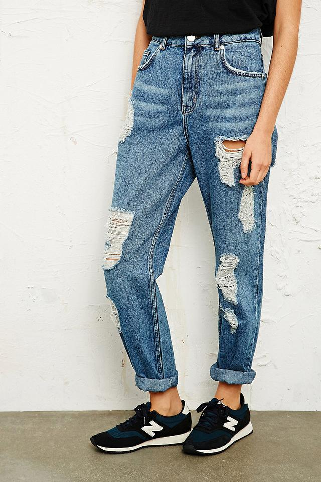 Bdg Destroyed Mom Jeans Blue Endource