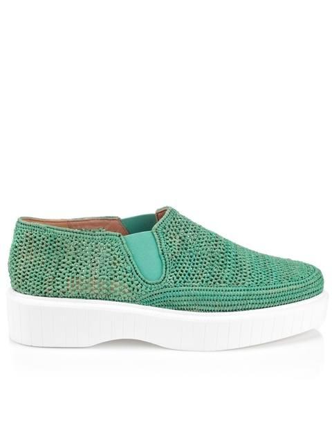 6816a9d7bed Teal Raffia Pelizo Slip-On Shoes