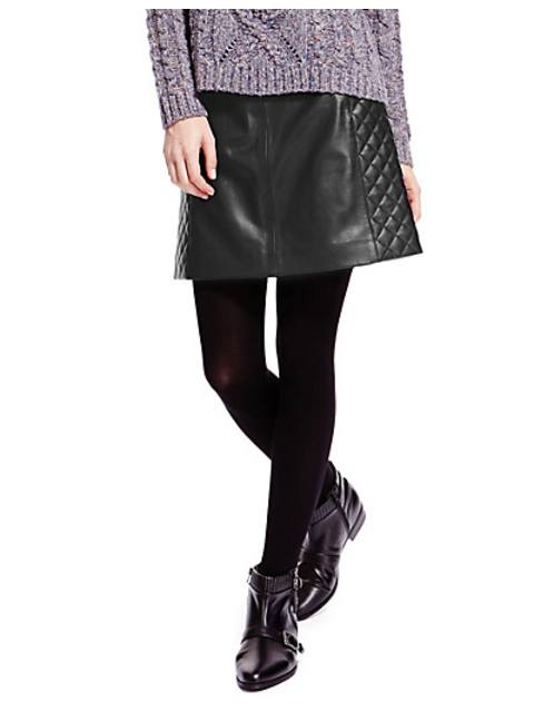 c9e59756d1 Leather Quilted A-Line Mini Skirt | Endource