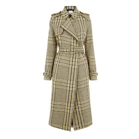 Checked Belted Trench Coat by Warehouse