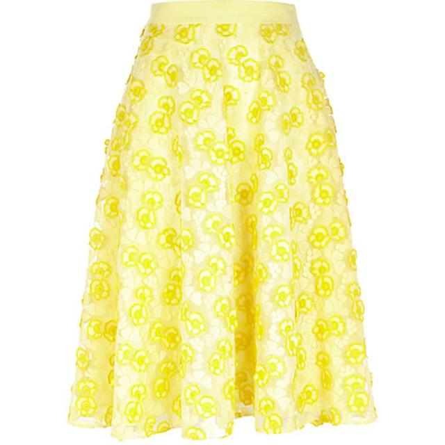 YELLOW 3D FLORAL LACE MIDI SKIRT | Endource