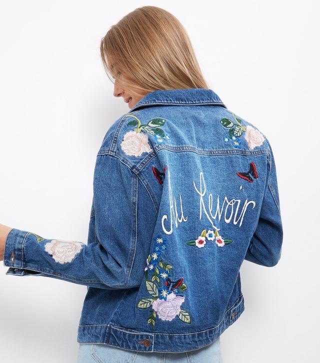 Au revoir embroidered denim jacket endource