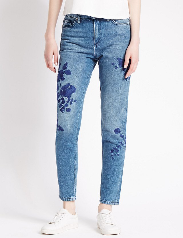 Embroidered skinny jeans endource