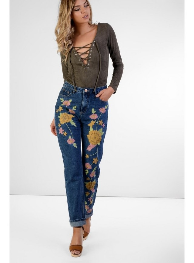 Mid blue embroidered jeans endource