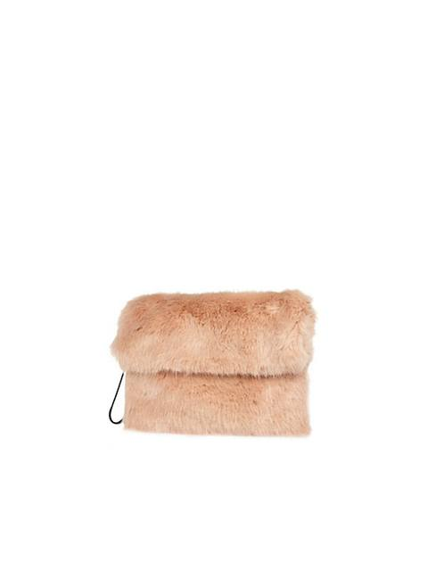 Light Pink Faux Fur Fold Over Clutch Bag  0b4c8e68f40e1