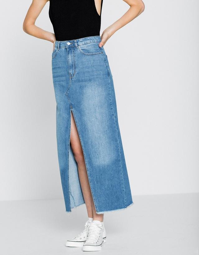 Pull On Denim Skirt - Skirts