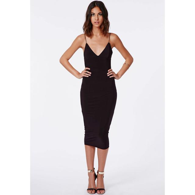 914fbb25b5d Elodia Slinky Strappy Midi Dress In Black