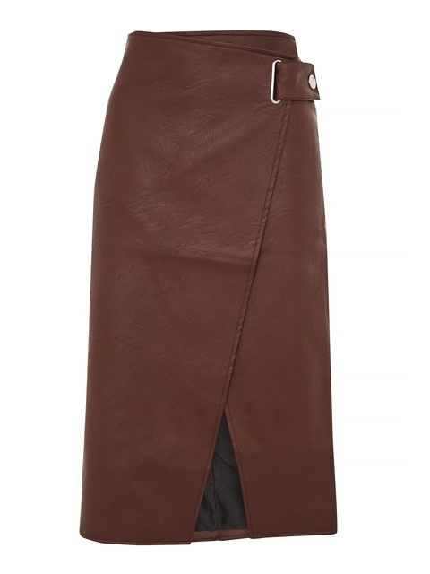 6325a29de4 Snap Wrap PU Midi Skirt | Endource