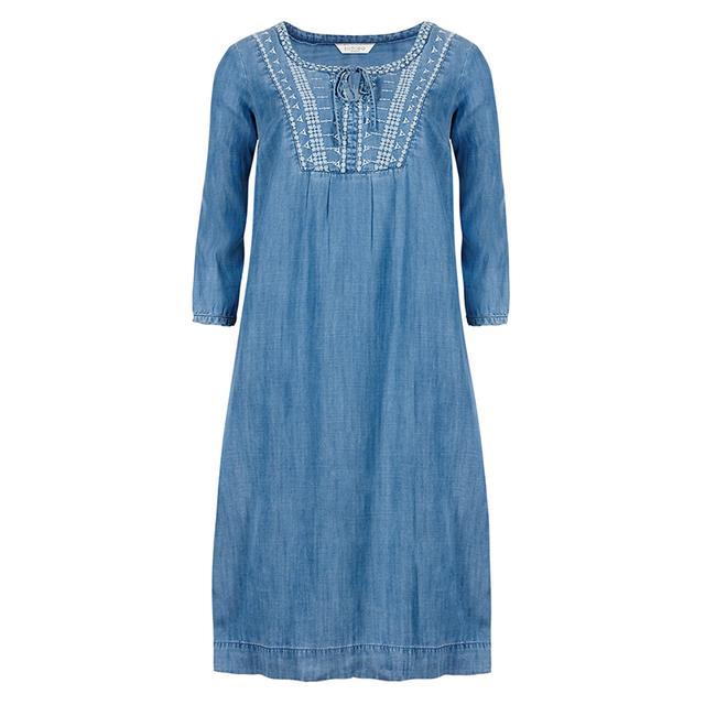 Tencel embroidered neckline denim tunic dress endource
