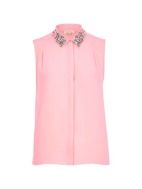 c0333ed9e9 PINK EMBELLISHED COLLAR SLEEVELESS SHIRT