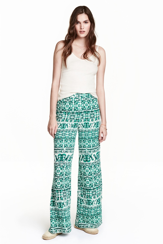 patterned wide leg trousers