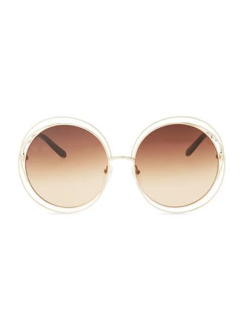 Carlita Round Wire-Frame Sunglasses, Rose Gold | Endource