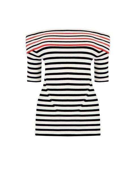 9a064bdba49 Striped Bardot Top | Endource