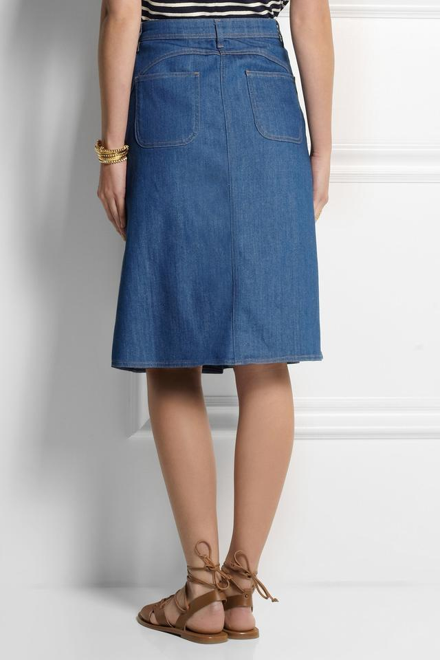 The Midi Button Through Stretch-Denim Skirt | Endource