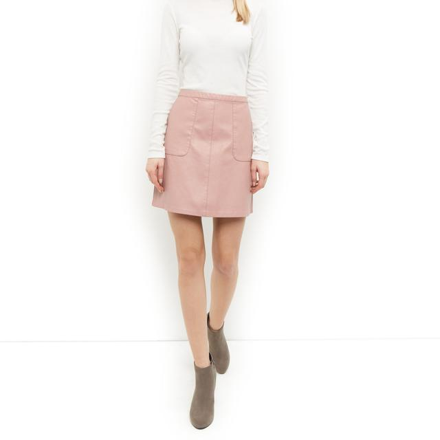 leather look a line skirt endource