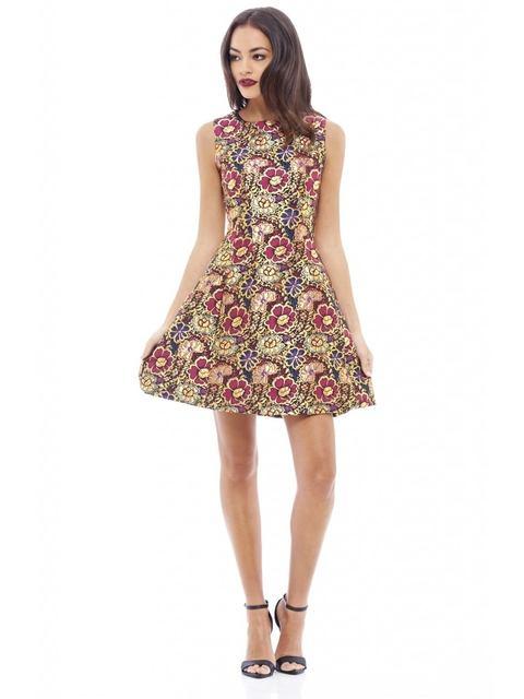 c0be5e234e9 Metallic Floral Skater Dress