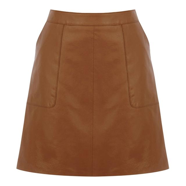 Leather Pocket A-line Skirt | Endource
