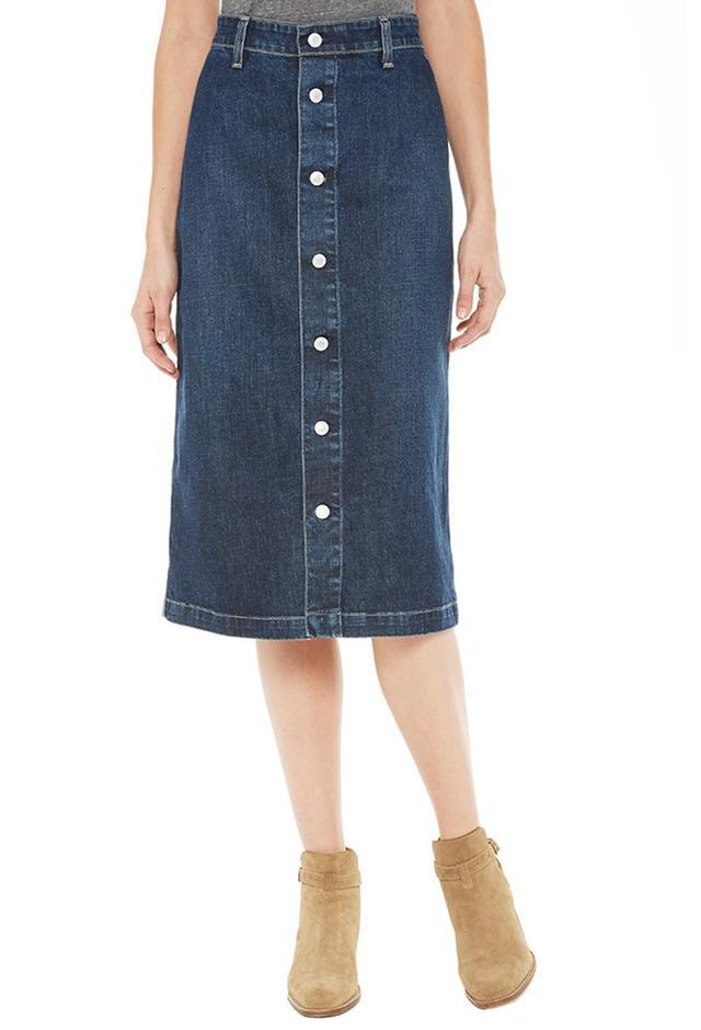 buttoned denim skirt endource