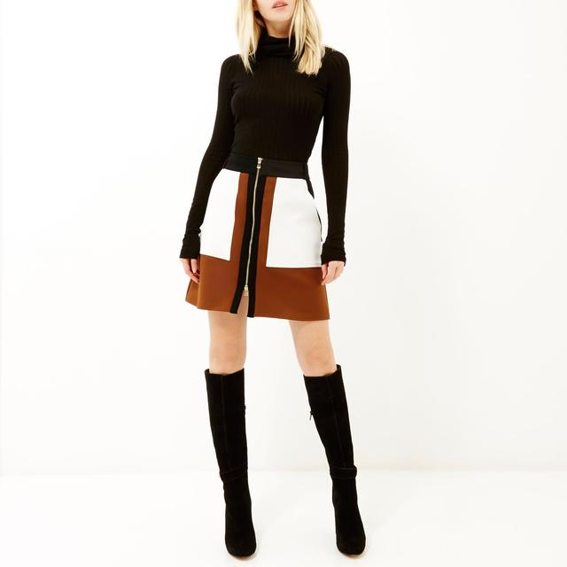 Panelled A-line Zip Front Skirt | Endource