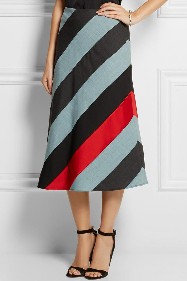Amelia Striped Wool and Satin Midi Skirt | Endource