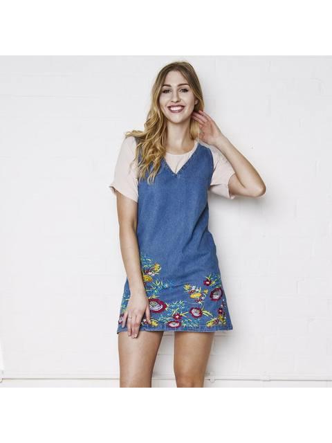 b8ad32b35ff Mia Floral Embroidered Denim Dress